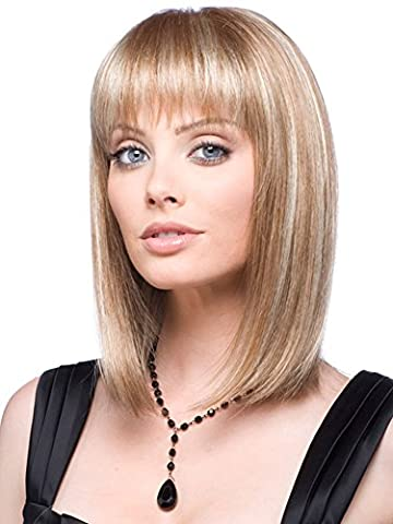 MIKWIG Casual Bob Straight Mid-length Straight Blonde Wig for Women
