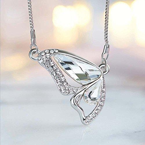 Schmetterling Anhänger Halskette Kristall Silber,White (Kostüm Keine Kultur)