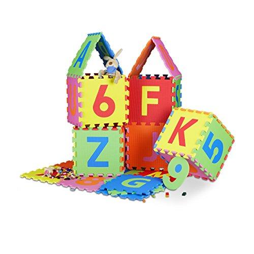 *Relaxdays Spielmatte Puzzle 86 tlg, Puzzlematte Buchstaben u. Zahlen, EVA Schaumstoff Spielteppich BxT 180×180 cm, bunt*