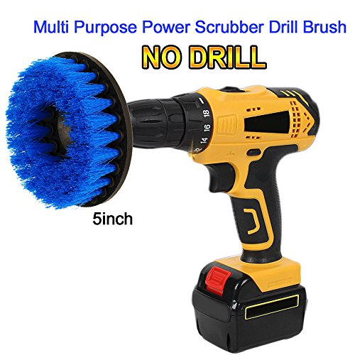 OxoxO 5inch Scrub Brush Drill Powered Attachment Cleaning Brushs for Cleaning Showers Marine Pool Tile Flooring Brick Ceramic Marble Grout and Much More - Variable Speed Cordless Drill
