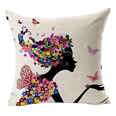 Poens Dream Housse de Coussin, Wings Girl Printed Cotton Linen Decorative Pillow Cushion Cover, 17.7 x 17.7inches