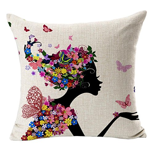 Nunubee 45x45cm Quadratisch Pastoralen Leinen Kissenbezüge Dekokissen Kreative Blume und Baum Sofakissen Kissenbezug Kissenhülle, Blumen Mädchen