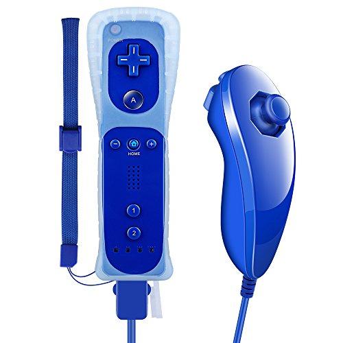 Pekyok Wii Controller und Nunchuk, DW12 Nintendo Wii Remote und Nunchuck mit Silikonhülle und Handschlaufe für Wii und Wii U- Königsblau