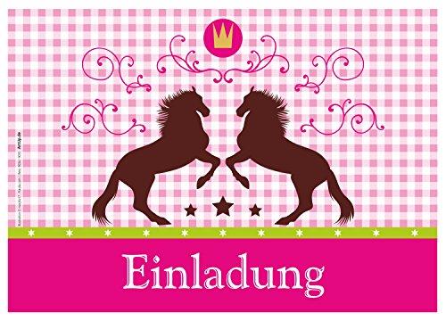 ArtUp.de 12 Einladungskarten Pferde / Karo / Pink Rosa Oktoberfest / Geburtstagseinladungen Einladungen Kindergeburtstag Jungen Mädchen Kinder Jugendliche Erwachsene Fest Vorlagen Karten Set