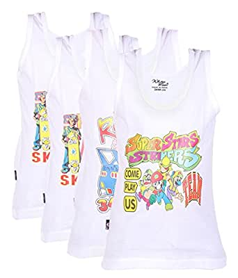 White Moon Printed Vests - Pack of 4