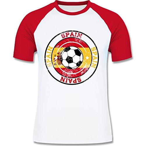 EM 2016 - Frankreich - Spain Kreis & Fußball Vintage - zweifarbiges Baseballshirt für Männer Weiß/Rot