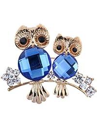 Yazilind mujeres de lujo de cristal de Rhineston Flor Flora búho joyería broche regalo ideal