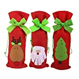 Sungpunet set di 3pezzi di Natale bottiglia di vino sacchetti regalo coulisse sacchetto Babbo Natale cervi albero modello tabella decori immagine
