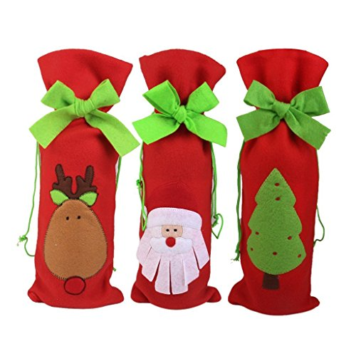 Sungpunet set di 3pezzi di Natale bottiglia di vino sacchetti regalo coulisse sacchetto Babbo Natale cervi albero modello tabella decori