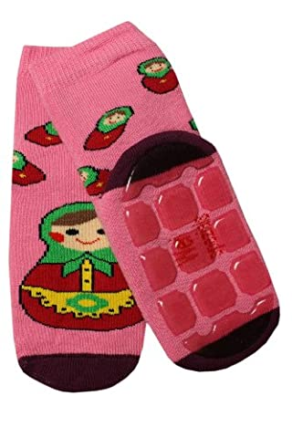 Weri Spezials Unisexe Enfants ABS Eponge Matriochka Pantoufle Chaussons Chaussettes Antiderapants 5-6 Annees (27-30) Rose Fonce