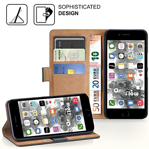 iPhone 7 Plus Hülle Dunkel-Rot mit Karten-Fach [OneFlow 360° Book Klapp-Hülle] Handytasche Kunst-Leder Handyhülle für iPhone 7 + Plus Case Flip Cover Schutzhülle Tasche ANTHRACITE-GRAY