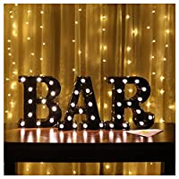 Vimlits Carnival Wedding Festoon Warm White LEDs BAR Marquee Sign, Light Up Black Plastic Large Letter BAR Wall Sign - Wall Mounted or Free Standing
