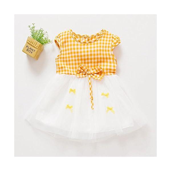 Trisee Recién Nacido Bebé Niñas bebés Rejillas Bowknot Hilado Neto Ropa de Vestir Informal Bebé Ropa recién Nacida 0 a… 5