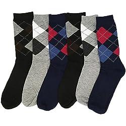 6+6=12 pares TALLA 40/46 calcetines hombre caballero alta gama sport Elegante 100% cómodos, y anti-pres (6+6=12 ROMBOS CLÁSICOS)
