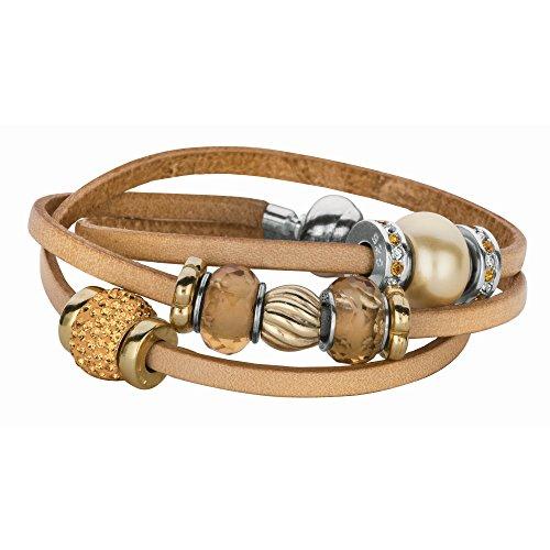 Tan Italienisches Leder Wrap-around-Armband -