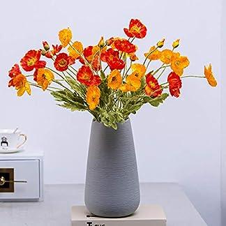 SloyBaden Conjunto de Flores Artificiales,Flores de Amapola Artificiales de PU realistas Arreglos de Ramo de imitación realistas para Decoraciones de la Sala de Estar de la Cocina del hogar