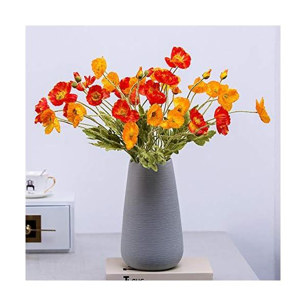 SloyBaden Conjunto de Flores Artificiales,Flores de Amapola Artificiales de PU realistas Arreglos de Ramo de imitación…