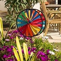 Juego de viento - Magic Wheel Twin 25 - resistente a rayos UV/resistente a la intemperie - Rueda de viento 2x Ø25cm/ Altura 65cm - vara de vidrio incluida