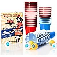 Lumaland Vasos de fiesta extra resistentes 16 oz Beer Pong Vasos 100 Unidades + 6 pelotas para Beer Pong, rojo y azul