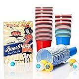 Lumaland Vasos de fiesta extra resistentes 16 oz Beer Pong Vasos 100 Unidades + 6 pelotas para Beer...