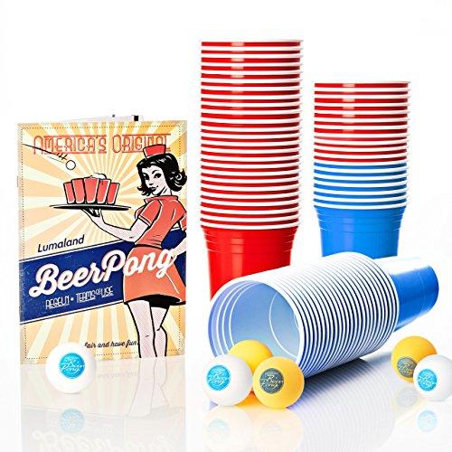 Lumaland Partybecher 100 Stück und 6 Beer Pong Bälle als Set 16 oz Beer Pong Trinkbecher extra stark rot und blau