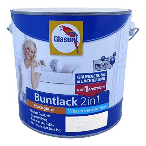 Glasurit Buntlack 2in1 Wasserverdünnbar Hochglanz - 500ml (RAL 7001 Silbergrau)