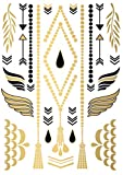 TATATAT das Streetart Label aus Berlin Temporäre Tattoos #004 Jewelry by C.Wolff Tätowierungsaufkleber Tattoo Tat Damen Herren Körperkunst Aufkleber (Gold)