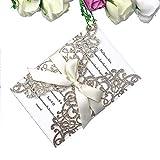 PONATIA Lederpolster Laser geschnitten Einladungen Karte mit Band für Hochzeit Brautschmuck Dusche Verlobung Geburtstag Einladung Karten Rose Gold Glitter