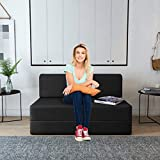 Aart Store One Seater Sofa Cum Bed for Sleeps and Comfortably for Guests (3x6 Feet, Black)