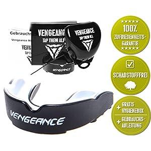 Vengeance Mundschutz   +Hygienebox+Namensschild+Anleitung+E-Book   MMA, BJJ, Boxen, Muay Thai, Kickboxen, Rugby, Hockey, Football   einfach anpassbar   Herren & Damen Zahnschutz   ab 11 J.