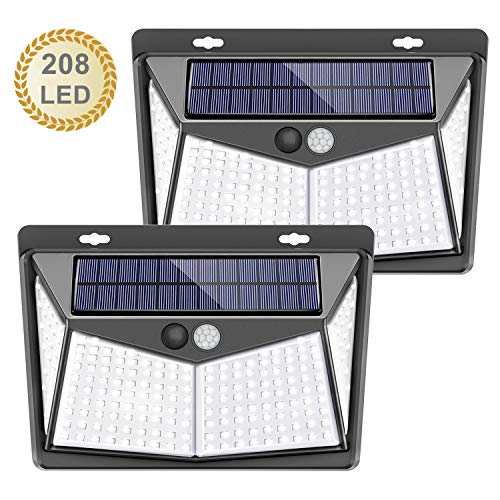 【208 LED / 3 Modos】Luz solar exterior, SEZAC Luces de seguridad solar Luces de sensor de movimiento solar Impermeable 65 Luces al aire libre para jardín Cerca de garaje (paquete de 2)