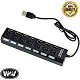 World2view 7 Port Ultra High Speed USB HUB 480 Mbps For Laptop Desktop 2.0 Hub With Individual On/Off Power Switches And LEDS (4 Port Hub Black)