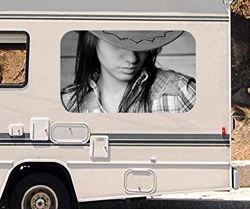 y Frau Cowgirl Cowboy Hut Erotik schwarz weiß Wohnmobil Auto KFZ Fenster Sticker Aufkleber 21A557, Größe 3D sticker:ca. 120cmx73cm (Cowgirls Hüte)