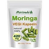 Moringa 250 Vegi Cápsulas 420mg - 100% certificada vegano alimentos crudos (1x250)