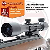 In Your Sights 3-9x40 Rifle Scope with tactical rails fits dovetail and weaver