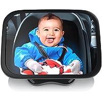 CSL - Rücksitzspiegel für Babys 23x16cm   Auto-Rückspiegel für die Babyschale   Sicherheitsspiegel   Verstellbare Träger/universale Form   splittersicher   Hoch- oder Querformat