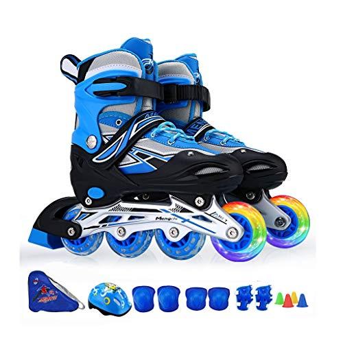 HUIQIN Rollerskates Damen, Erwachsene Rollschuhe Inline Skater, 2 Leuchtende Rollen, Geeignet Für Herren, Herren, Blau (Size : L(EU 38 - EU 41))