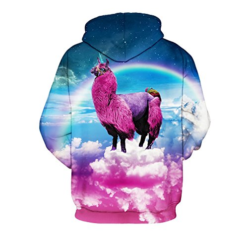 LILY999 Unisex Sweats à Capuche Pullover 3D Prints Hoodie Sweatshirt Patterned Multicolore Alpaga