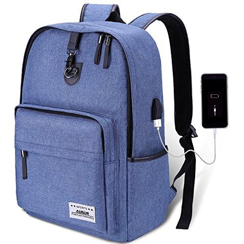 AUGUR Rucksack Daypack College Rucksack Notebookrucksack Business Backpack mit USB-Ladeanschluss und Anti-Diebstahl Lock,20L-35L Gefütterte Tasche für Laptop bis zu 15.6 Zoll,für Herren Junge Mann
