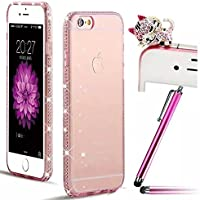 per iPhone 5 5S SE Case Cover, Vandot 3 in 1 Set Ultra Sottile 0.7 MM Strass Diamante Bumper Frame Trasparente TPU Silicone Custodia Premium Glitter Matt Tasca di Cristallo di Protezione Ultralight Luce Shinning Copertura Shell - Rosa + Cat Kitty Animale Anti Dust Plug e Stylus Stilo Penna