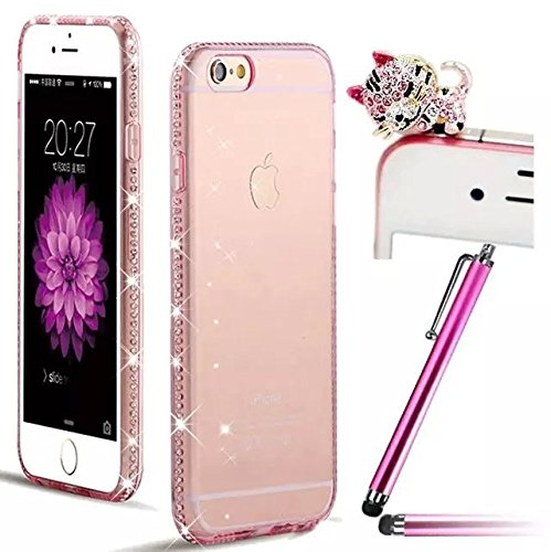 Vandot 3 in 1 Set Ultra Sottile 0.7 MM Strass Diamante Bumper Frame Trasparente TPU Silicone Case Cover Custodia per iPhone 6 Plus / 6S Plus 5.5 Pollici Premium Glitter Matt Tasca di Cristallo di Protezione Ultralight Luce Shinning Copertura Shell - Rosa + Cat Kitty Animale Anti Dust Plug e Stylus Stilo Penna