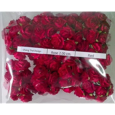 ROSSO 100 artificiale Mulberry Rose fiore matrimonio Scrapbooking mestiere di carta 2cm.