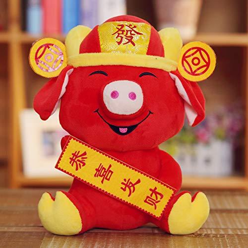 Gloveleya China 2019 Frühling Festival Dekorationen - Jahr des Schwein Festival Dekoration Plüsch Piggy - Stofftier Fortune Maskottchen Spielzeug 8,5