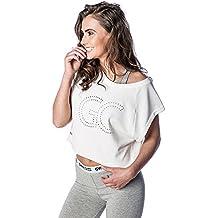 Crop Top Camiseta de tirantes para mujer blanco fitness aire libre (Blanco, XS)