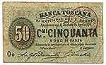 Titolo completo: 50 CENTESIMI BANCA TOSCANA DI ANTICIPAZIONI E SCONTO 24/04/1870 BB  Banconota da 50 Centesimi  Stato di conservazione: BB  Codice prodotto interno: 6259/IV   Cartamoneta.com S.r.l.