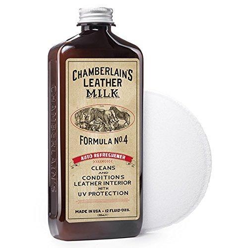 Chamberlain's Leather Milk - Auto Refreshener n° 4 - lait anti-UV pour cuir de voiture - avec coton - naturel/non toxique - 0.35 L