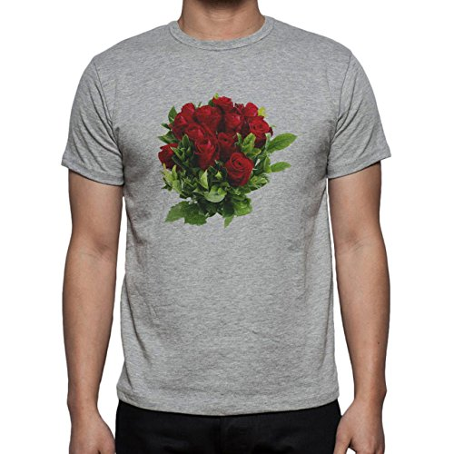 Flowers Nature Blossom Plant Real Red Green Leaves Herren T-Shirt Grau