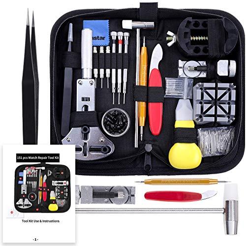 Vastar 151 PCS Kit Riparazione Orologi, Kit Attrezzi Orologiaio per Fai da...