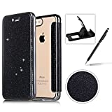 Coque iPhone 8 Plus Clapet,Herzzer Luxe Bling Glitter Paillettes PU Leather Housse...
