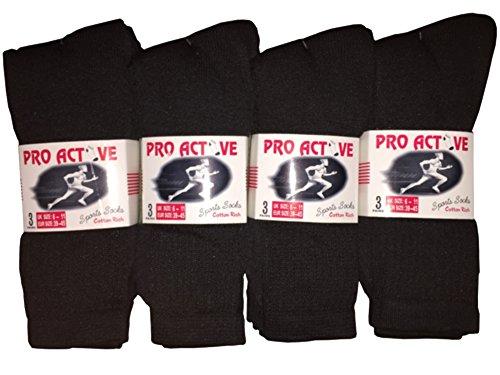 New Mens 12 Pairs COTTON Plain BLACK Sport Socks UK 6-11 EUR 39-45